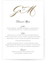 This is a white menu card by Jennifer Postorino called Flourish with standard printing on signature in standard.