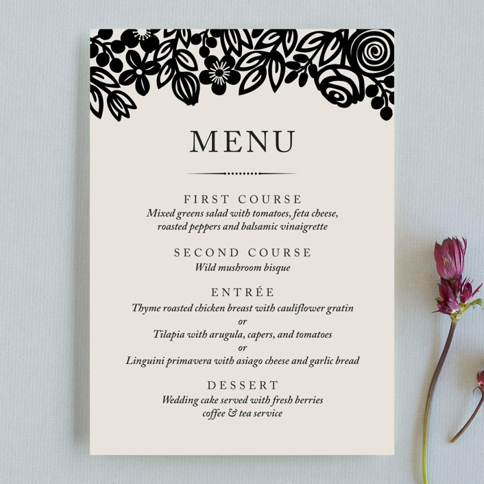 """Modern Floral Frame"" - Menu Cards in Champagne by Faiths Designs."