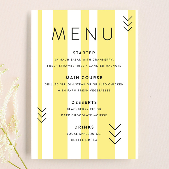 """""""Direction"""" - Modern Menu Cards in Lemon by Owl and Toad."""