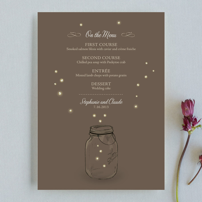"""Fireflies"" - Rustic, Whimsical & Funny Menu Cards in Zuni Brown by Paige Rothhaar."