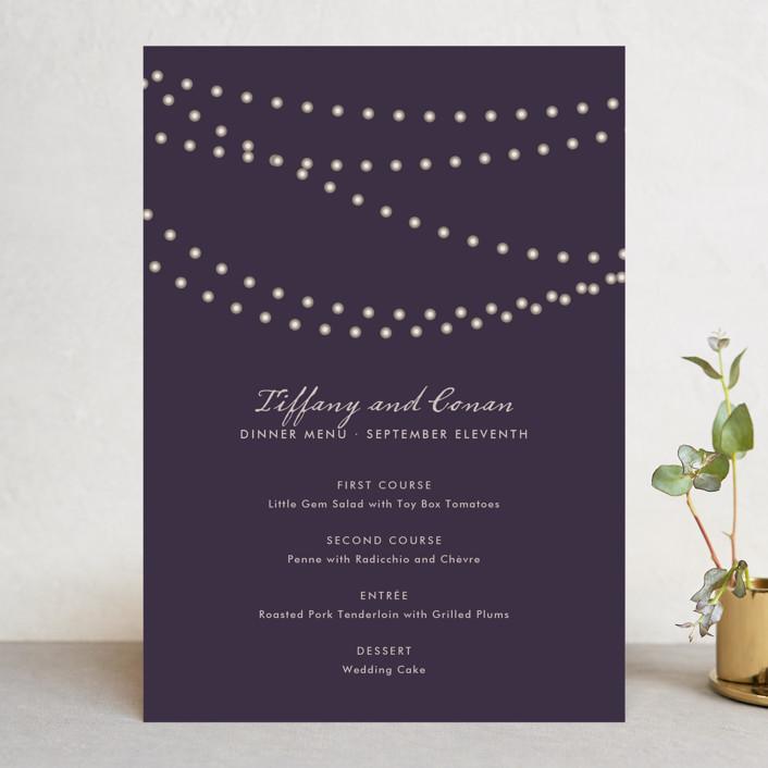 """Midnight Vineyard"" - Elegant, Classical Menu Cards in Deep Eggplant by Design Lotus."