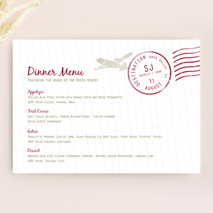 """Faraway Destination"" - Modern, Destination Menu Cards in Deep Red by bumble ink."