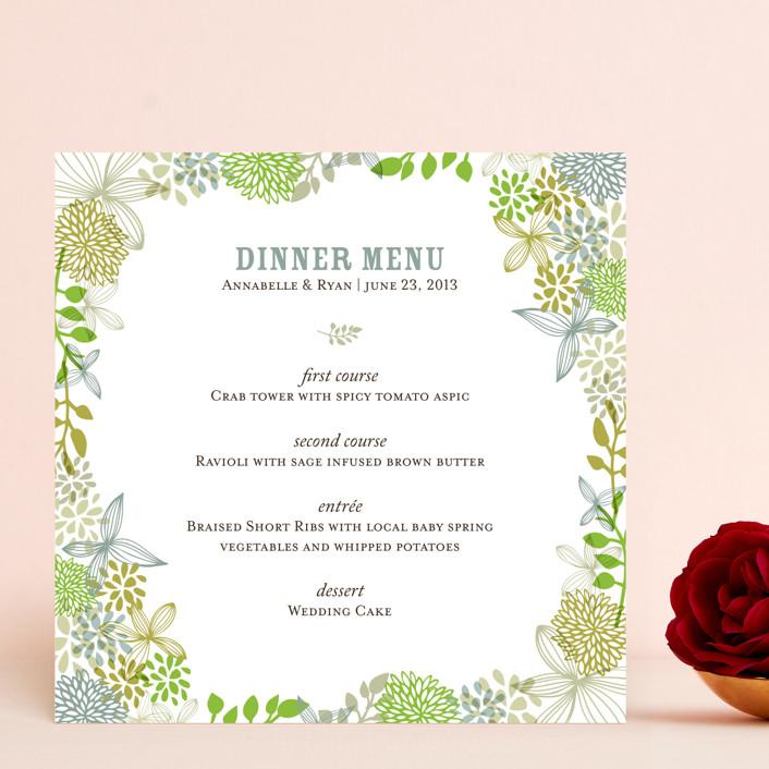 """""""Fling"""" - Floral & Botanical, Rustic Menu Cards in Leaf by Andrea Mentzer."""