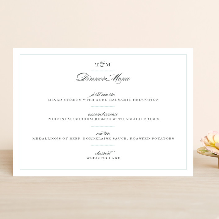 """Charming Go Lightly"" - Classical, Vintage Menu Cards in Sky by danielleb."