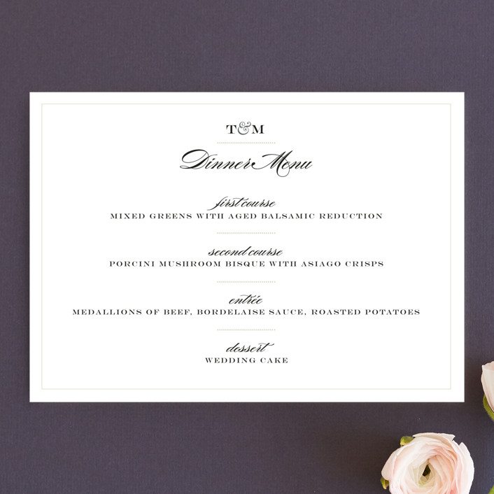 """Charming Go Lightly"" - Classical, Vintage Menu Cards in Crisp Black by danielleb."