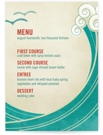 This is a portrait beach, destination, modern, green Menus by bumble ink called BLOCK PRINT WAVES with Standard printing on Signature in Classic Flat Card format. Give guests a sneak peek of the meal to come with these unique menus. ...