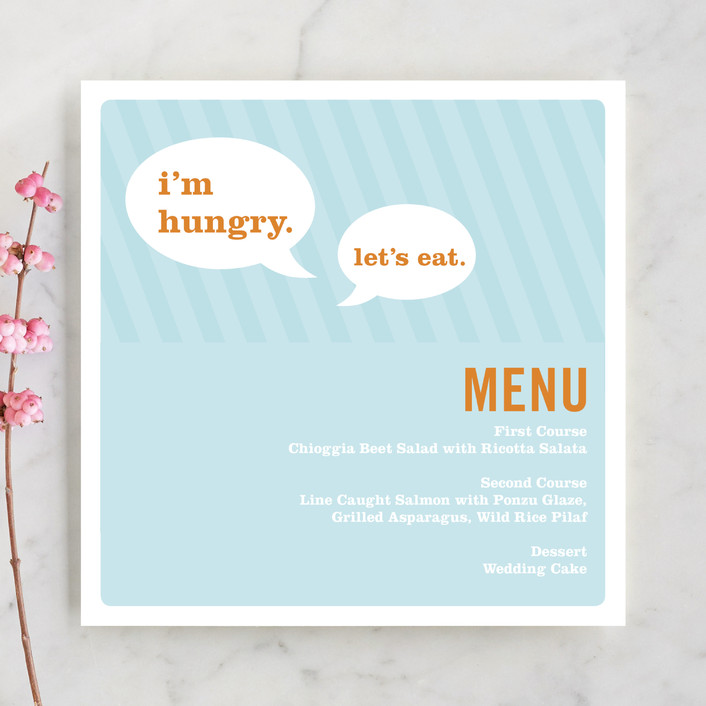 """Smart Conversation"" - Whimsical & Funny, Modern Menu Cards in Pool Blue by pottsdesign."
