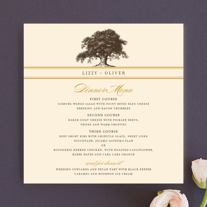 """Oak Tree"" - Rustic, Vintage Menu Cards in Butterscotch by annie clark."
