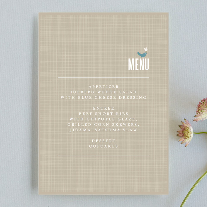 """SWEET LINEN"" - Rustic Menu Cards in Light Denim by Carrie Eckert."