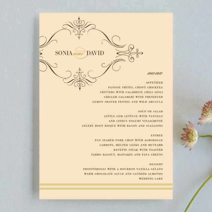 """French Vintage"" - Vintage, Formal Menu Cards in Fresh Peach by annie clark."
