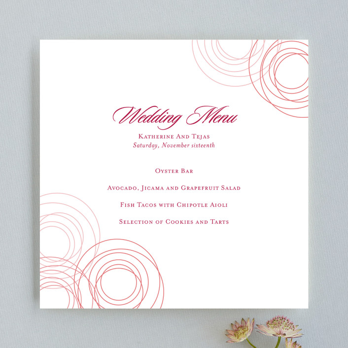 """Circles of Love"" - Modern, Formal Menu Cards in Rosebud by Love Letters."