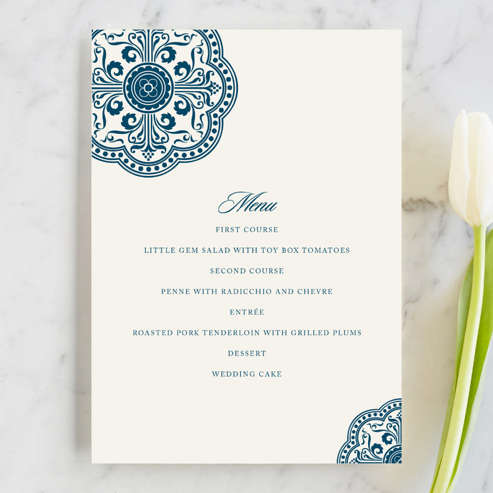 """Ornamental"" - Menu Cards in Sapphire by Paperview Designs."