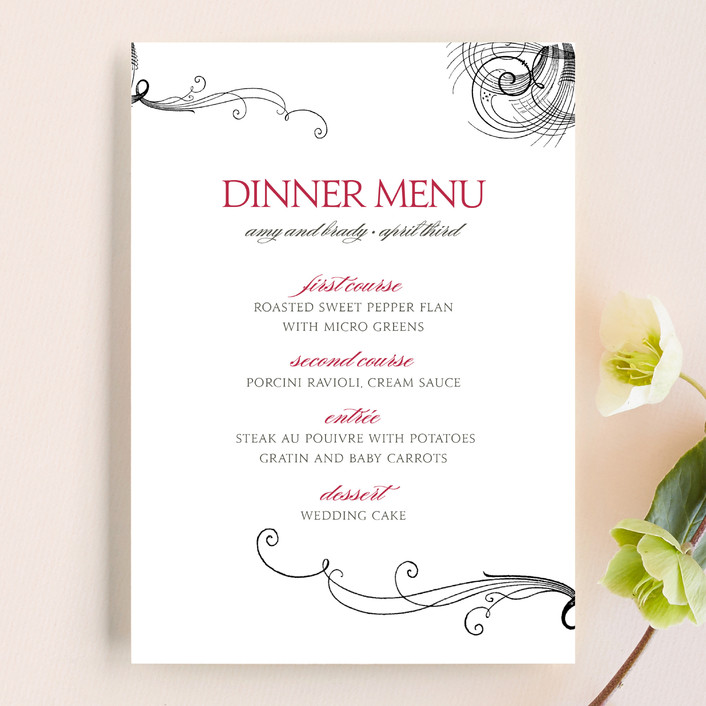 """Amy"" - Formal, Vintage Menu Cards in Berry Red by Splendid Press."