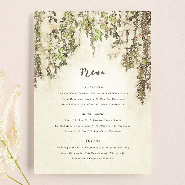 """""""English Countryside"""" - Simple, Rustic Menu Cards in Moss by Design Lotus."""