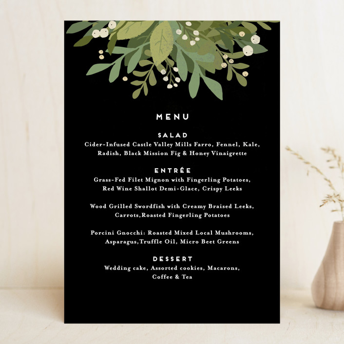 """""""Laurel of Greens"""" - Floral & Botanical, Rustic Menu Cards in Midnight by Jennifer Wick."""