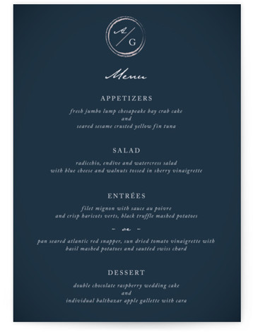 This is a portrait simple and minimalist, blue Menus by fatfatin called Monogram Circle Stamp with Standard printing on Signature in Classic Flat Card format. Give guests a sneak peek of the meal to come with these unique menus. All ...