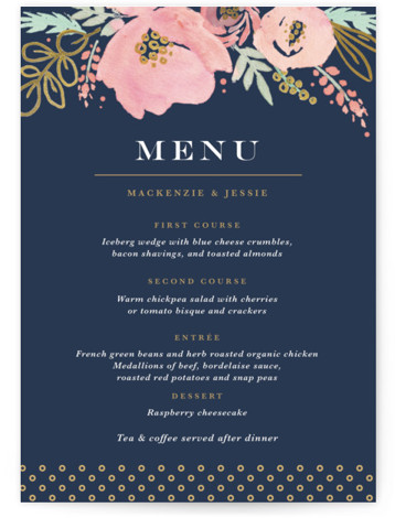 This is a portrait botanical, rustic, blue, colorful, pink Menus by Kristen Smith called Floral Vignette with Standard printing on Signature in Classic Flat Card format. Give guests a sneak peek of the meal to come with these unique menus. ...
