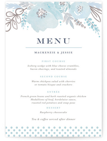 This is a portrait botanical, rustic, blue, white, grey Menus by Kristen Smith called Floral Vignette with Standard printing on Signature in Classic Flat Card format. Give guests a sneak peek of the meal to come with these unique menus. ...