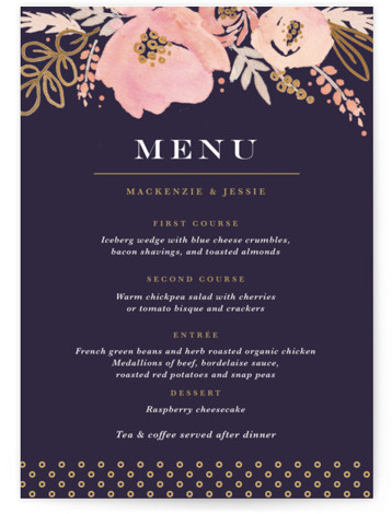 This is a portrait botanical, rustic, purple, colorful, gold Menus by Kristen Smith called Floral Vignette with Standard printing on Signature in Classic Flat Card format. Give guests a sneak peek of the meal to come with these unique menus. ...