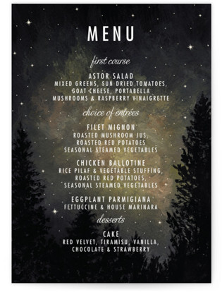Starry, Starry Night Menu