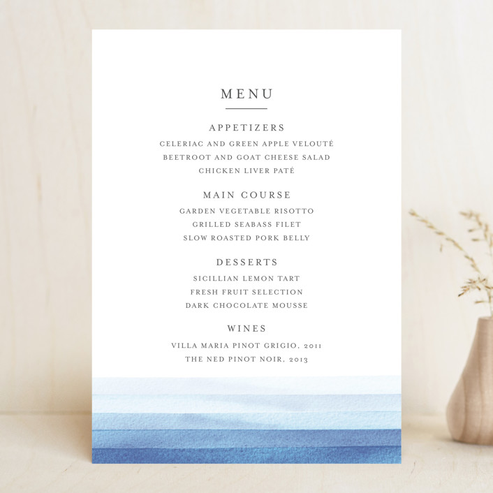 """Watercolour Stripe"" - Menu Cards in Azure by Bethan."