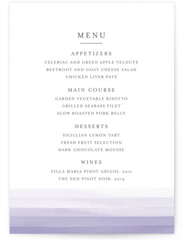 This is a portrait painterly, purple Menus by Bethan called Watercolour Stripe with Standard printing on Signature in Classic Flat Card format. Give guests a sneak peek of the meal to come with these unique menus. All menus can be ...