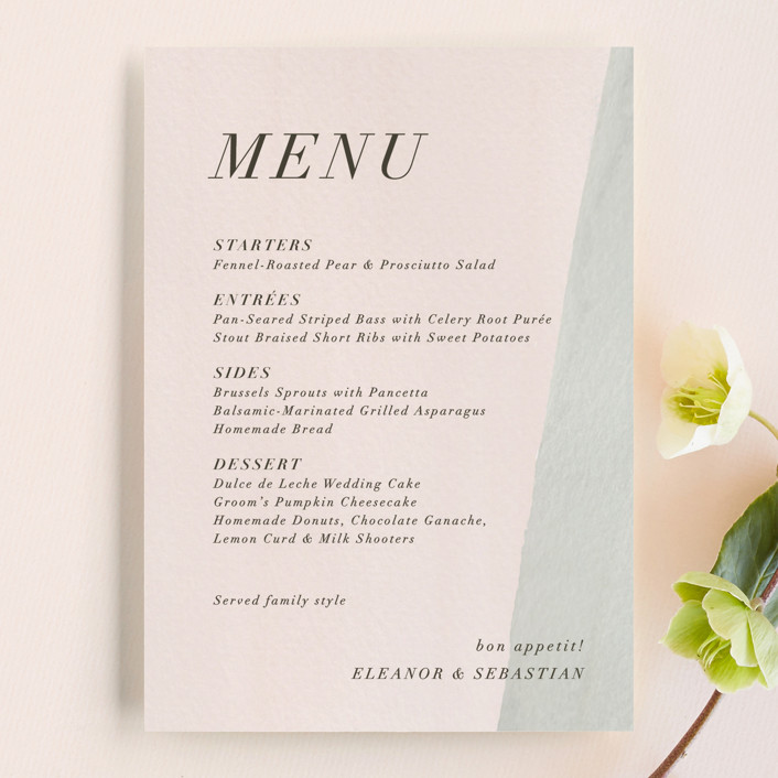 """Eleanor"" - Menu Cards in Rose by Creative Parasol."