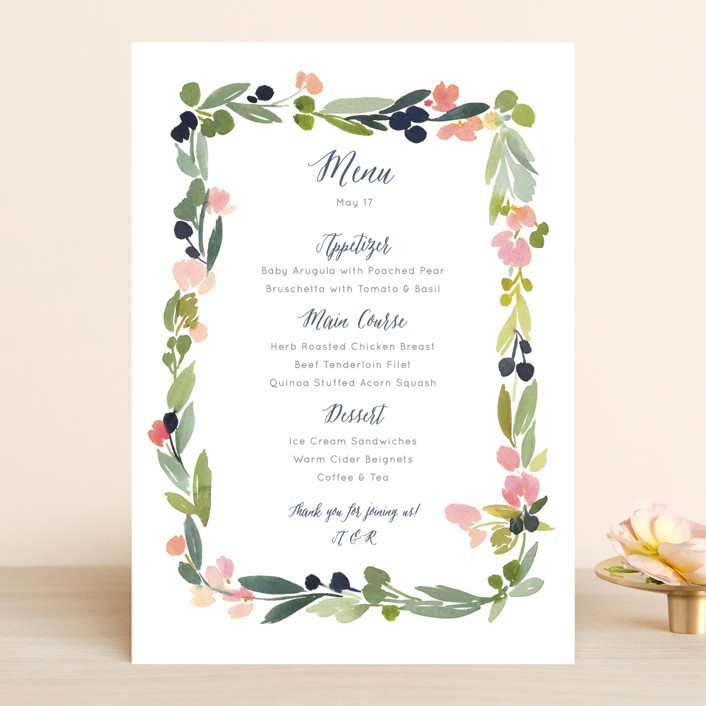 """""""Watercolor Wreath"""" - Floral & Botanical, Whimsical & Funny Menu Cards in Grapefruit by Yao Cheng Design."""