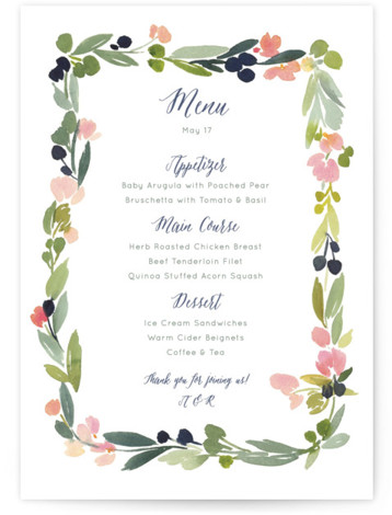 This is a portrait elegant, floral, whimsical, pink, colorful Menus by Yao Cheng Design called Watercolor Wreath with Standard printing on Signature in Classic Flat Card format. Give guests a sneak peek of the meal to come with these unique ...