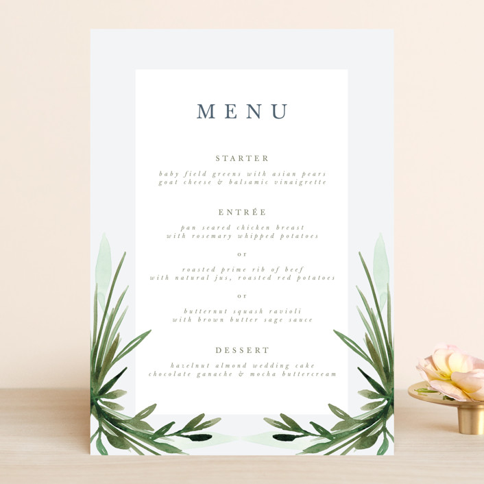 """Botanical Frame"" - Menu Cards in Fern by Kate Ahn."