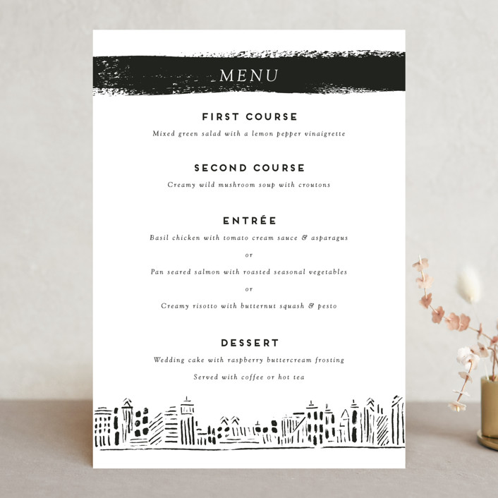 """Love In The City"" - Menu Cards in Pearl by Shiny Penny Studio."