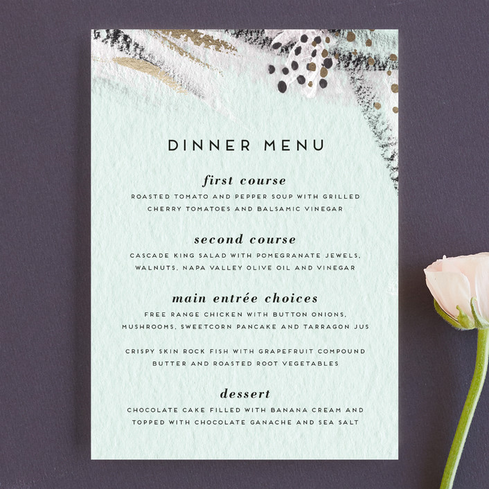 """Abstract Union"" - Bohemian Menu Cards in Fresh Mint by Simona Camp."