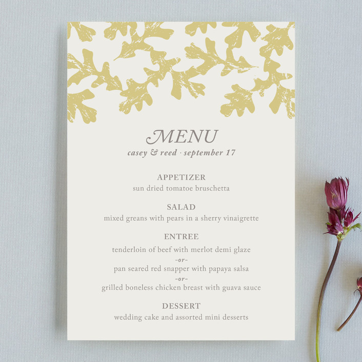 """Autumn Leaves"" - Rustic, Classical Menu Cards in Cream by Melissa Casey."