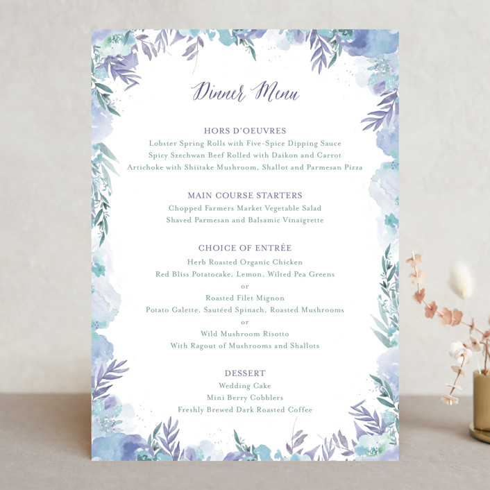 """Big Blooms"" - Menu Cards in Dew by Grace Kreinbrink."