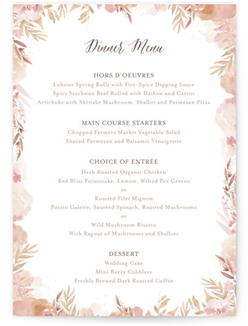 This is a portrait botanical, painterly, pink, beige, gold Menus by Grace Kreinbrink called Big Blooms with Standard printing on Signature in Classic Flat Card format. Give guests a sneak peek of the meal to come with these unique menus. ...