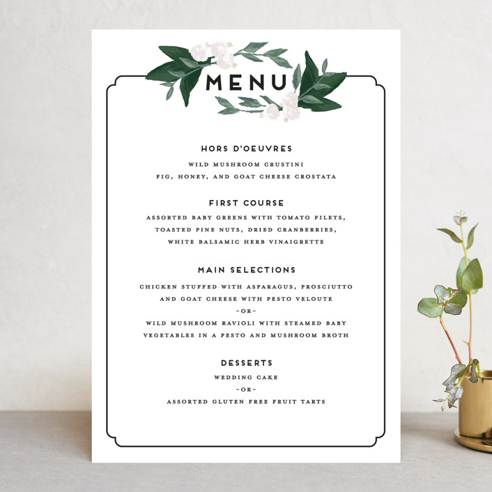 """Botanical Name Plate"" - Floral & Botanical, Rustic Menu Cards in Sage by Shiny Penny Studio."