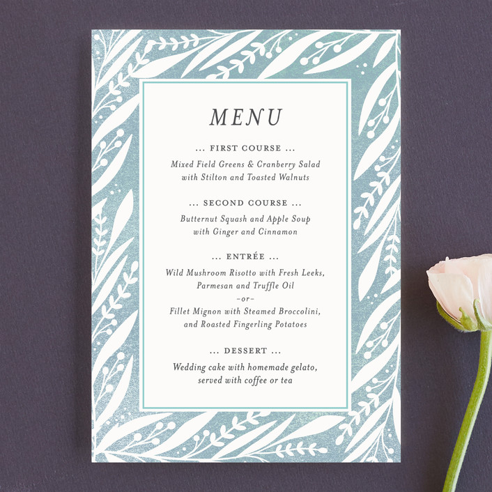 """""""Breezy Branches"""" - Menu Cards in Pool by Olivia Raufman."""