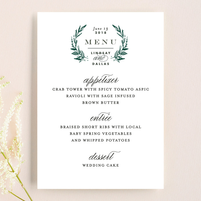 """Elegant Crest"" - Rustic, Modern Menu Cards in Forest Green by Alethea and Ruth."