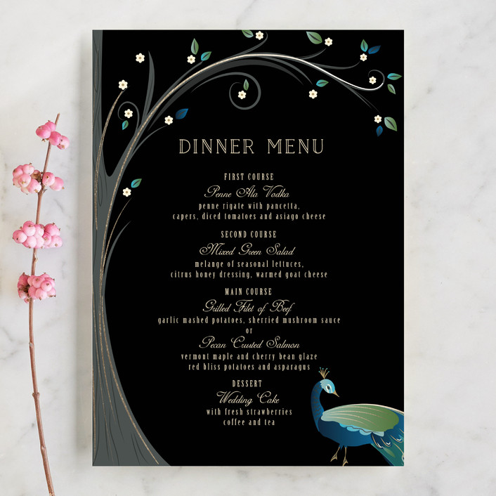 """""""Nouveau Leaves and Feathers"""" - Whimsical & Funny Menu Cards in Aquamarine by Susan Moyal."""