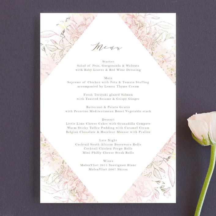 """Pastel Dream"" - Hand Drawn, Floral & Botanical Menu Cards in Lily by Phrosne Ras."