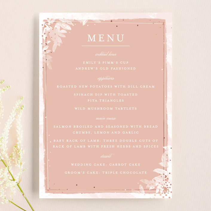 """Midsummer Romance"" - Floral & Botanical Menu Cards in Blush by Pistols."