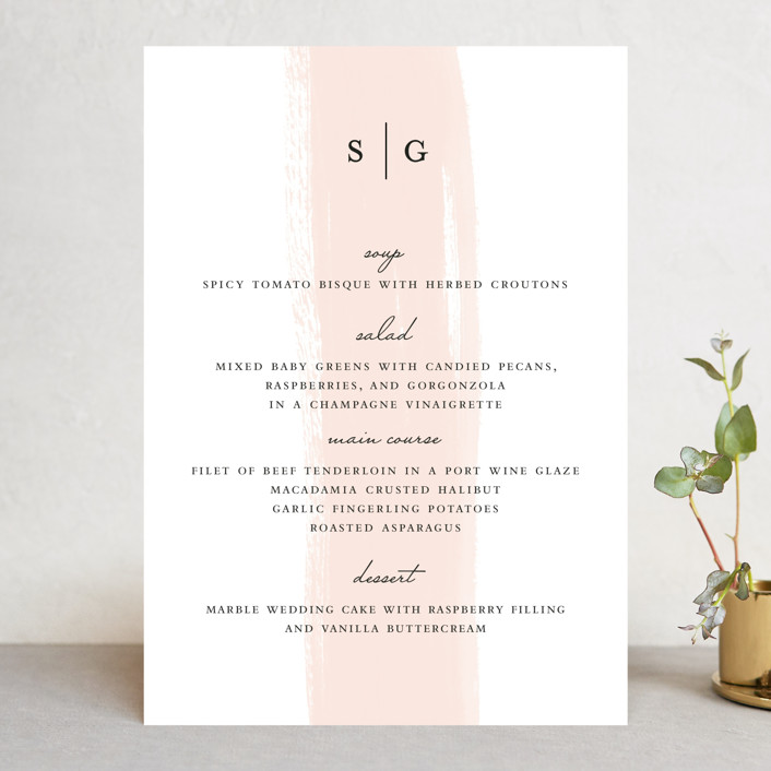 """Single Swath"" - Menu Cards in Blush by Angela Marzuki."