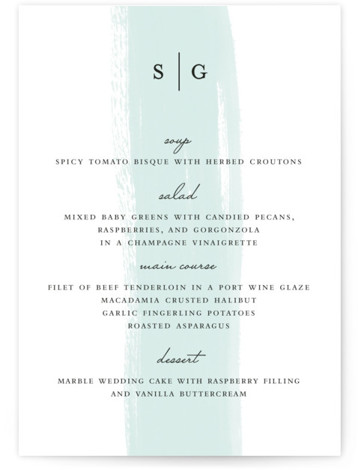 This is a portrait painterly, simple and minimalist, blue Menus by Angela Marzuki called Single Swath with Standard printing on Signature in Classic Flat Card format. Give guests a sneak peek of the meal to come with these unique menus. ...