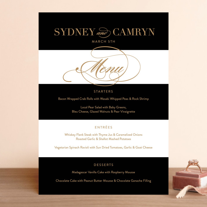 """""""Fashion District"""" - Menu Cards in Black Tie by Jill Means."""