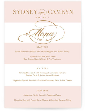 This is a portrait classic and formal, white, pink, gold Menus by Jill Means called Fashion District with Standard printing on Signature in Classic Flat Card format. Give guests a sneak peek of the meal to come with these unique ...