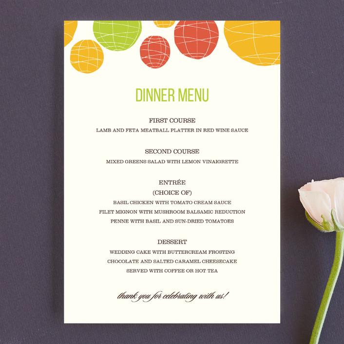 """""""Summer Lanterns"""" - Modern Menu Cards in Key Lime by Design Lotus."""