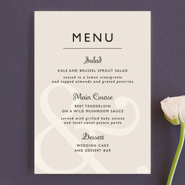 """""""Ampersand"""" - Classical Menu Cards in Taupe by Lauren Chism."""