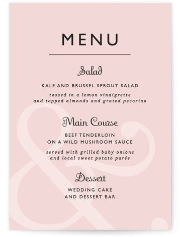 This is a portrait classical, orange Menus by Lauren Chism called Ampersand with Standard printing on Signature in Classic Flat Card format. This modern design lets the ampersand take center stage. Simple and clean text gives this design a very ...