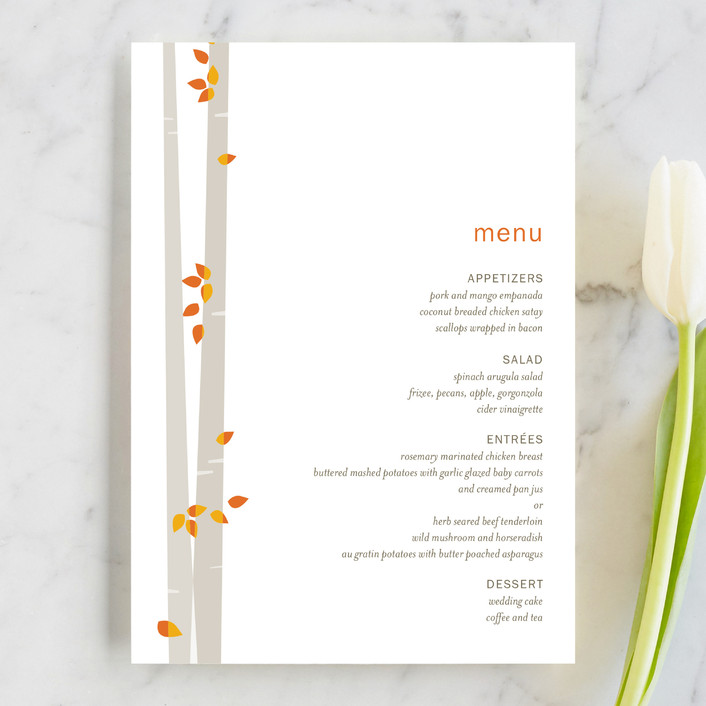"""Into the Woods"" - Modern Menu Cards in Orange by Robin Ott."