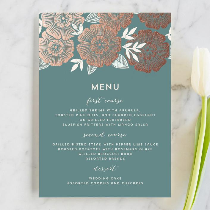 """Asher Floral"" - Floral & Botanical Menu Cards in Sage by Katharine Watson."